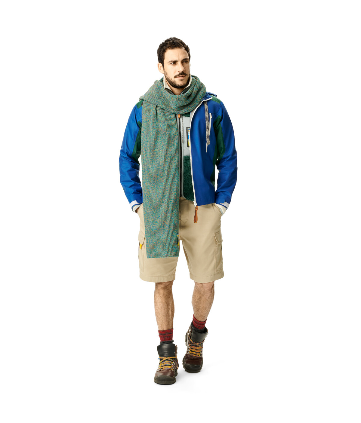 LOEWE Eln Melange Knit Scarf Emerald Green front