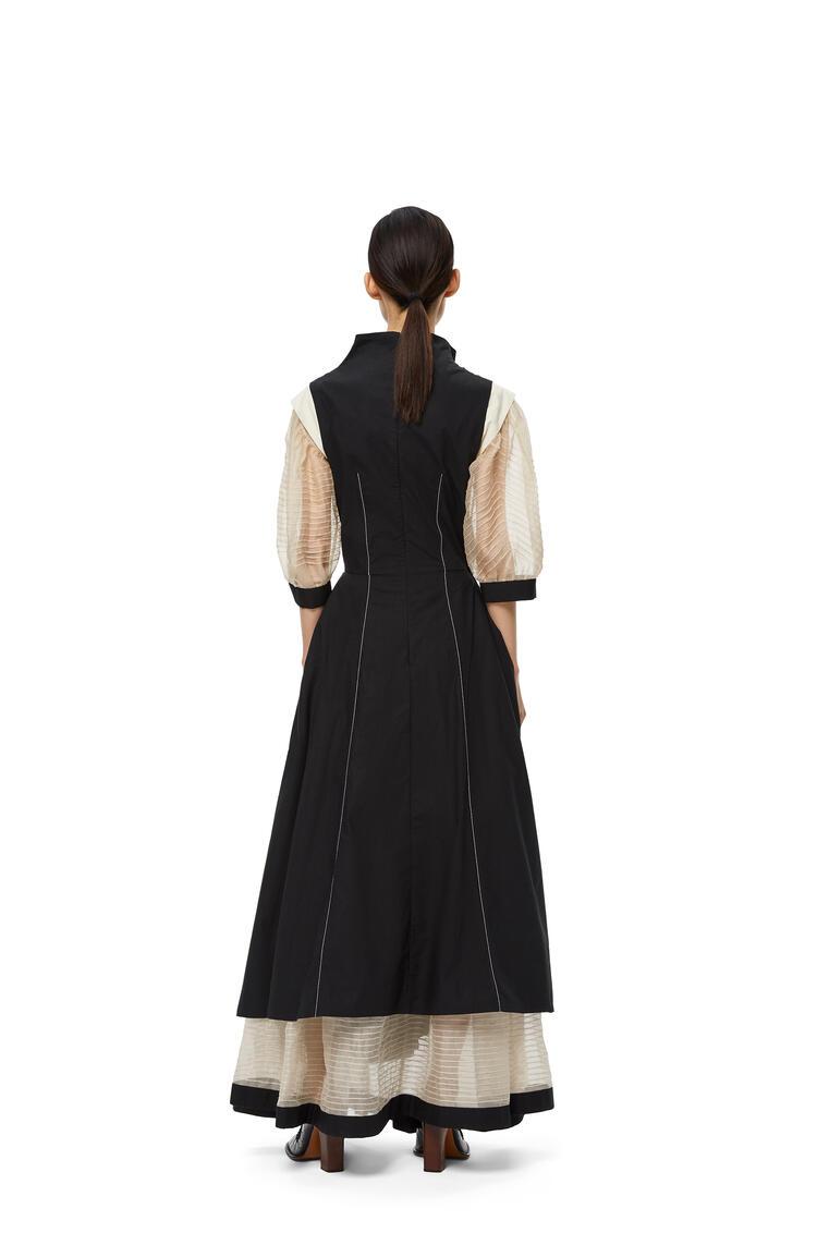 LOEWE Gathered dress in cotton Black/Ecru pdp_rd