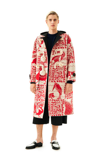 LOEWE Jacquard Duffle Coat Animals White/Red front