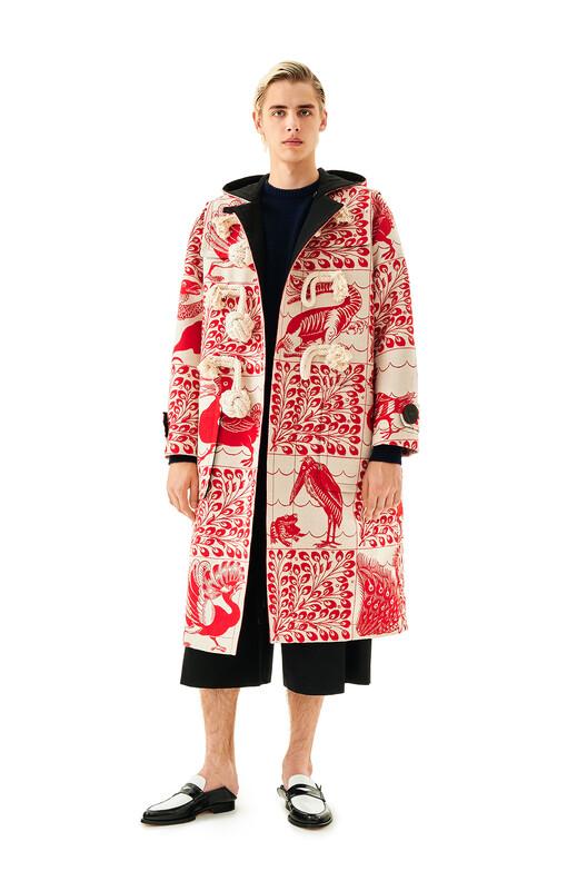 LOEWE Jacquard Duffle Coat Animals 白色/红色 front