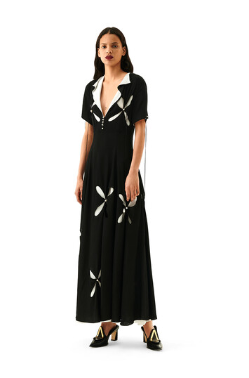 LOEWE Cut Out Dress Pearls Black/White front