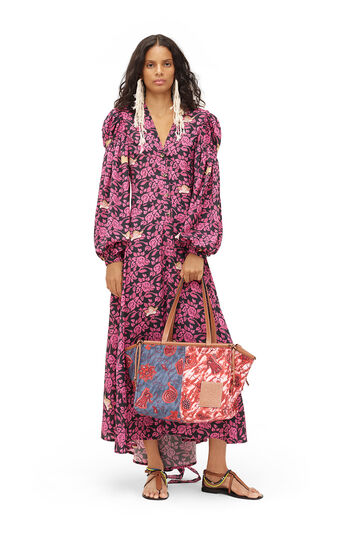 LOEWE Paula Print Peasant Shirtdress Black/Pink front