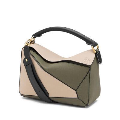 LOEWE Puzzle Bag Oat/Khaki Green front
