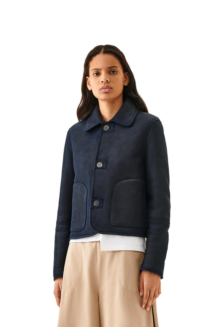 LOEWE Shearling button jacket in novack Navy Blue/Navy Blue pdp_rd