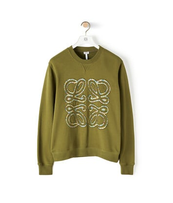 LOEWE Flower Anagram Sweatshirt Military Green front