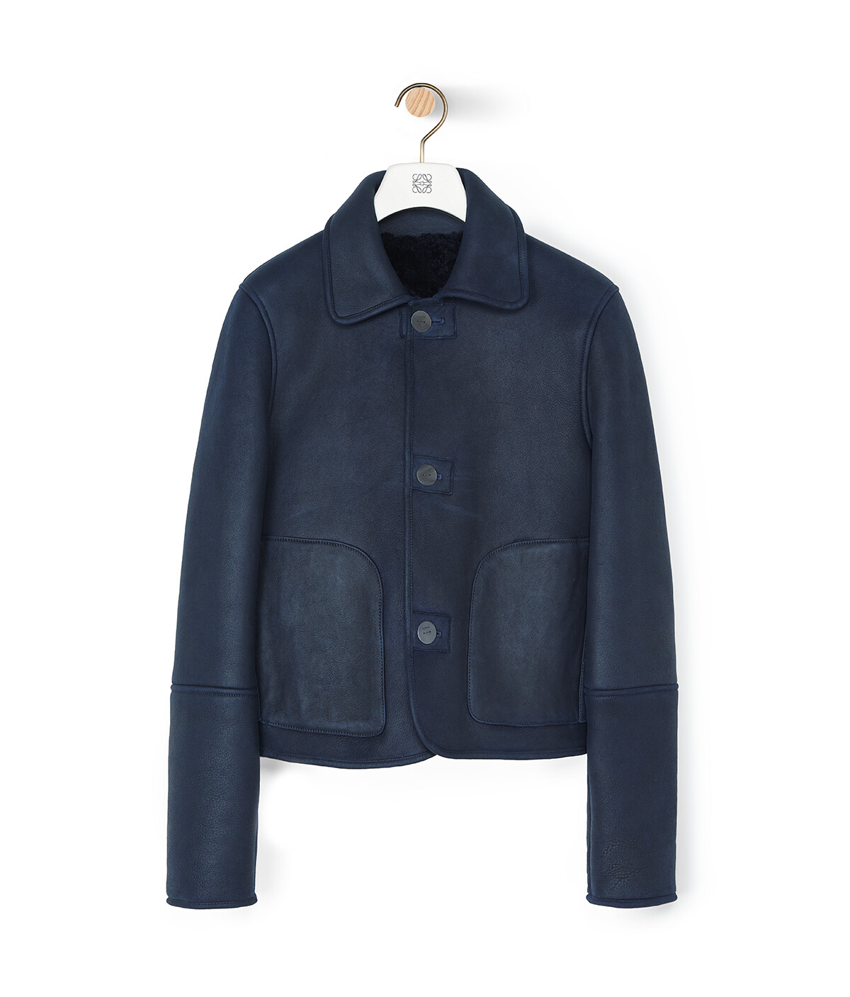LOEWE Shearling Button Jacket Navy Blue/Navy Blue front