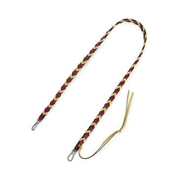 LOEWE Thin Braided strap in classic calfskin Raspberry/Yellow pdp_rd