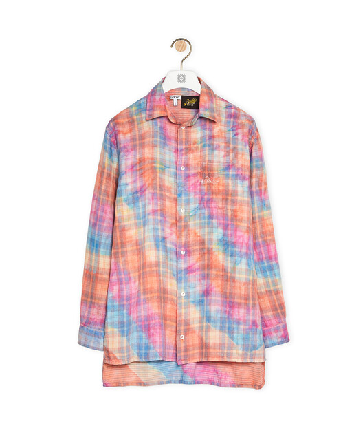 LOEWE Check Shirt In Tie Dye Cotton Multicolor front
