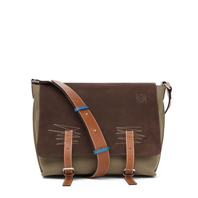 LOEWE Military Messenger Small Bag Choc Brown/Khaki Green/Tan front