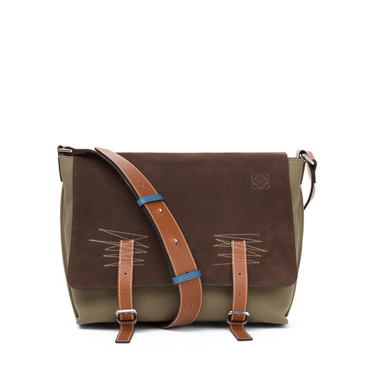 LOEWE Military Messenger Small Bag Choc Brown/Khaki Green/Tan all