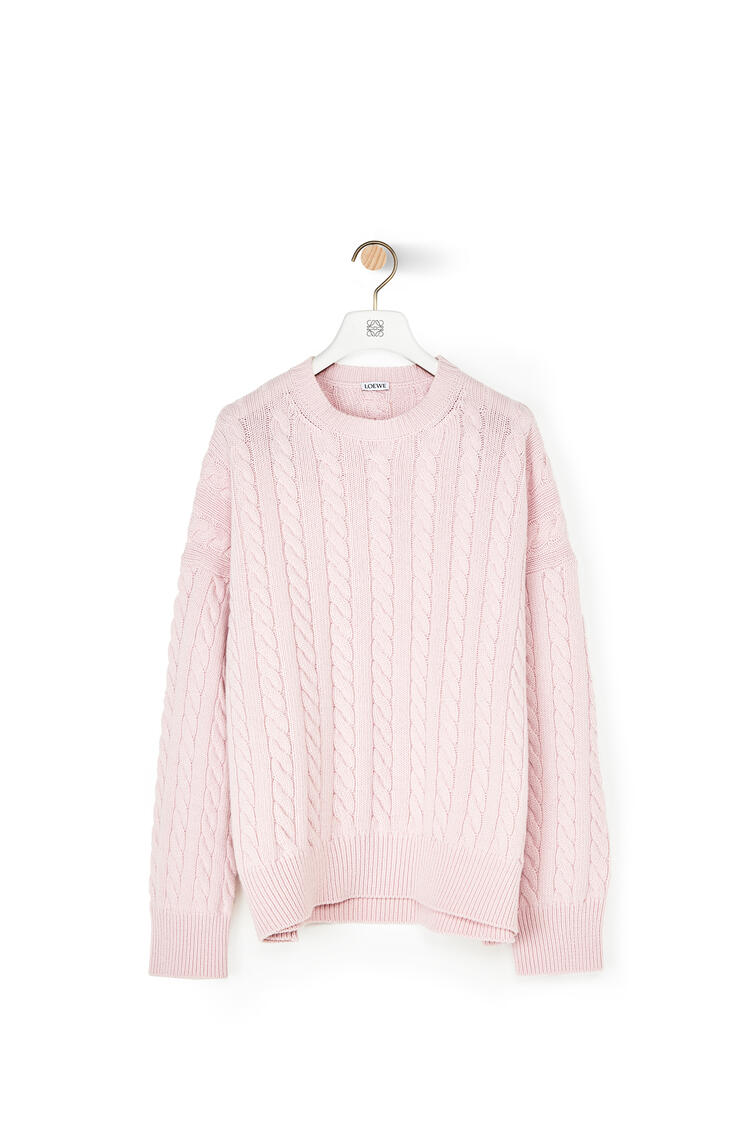 LOEWE Cable Crewneck Sweater In Wool Baby Pink pdp_rd
