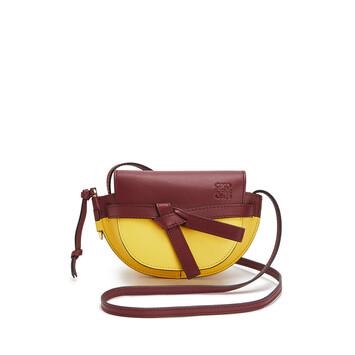 LOEWE Gate Colour Block Mini Bag Wine/Yellow front
