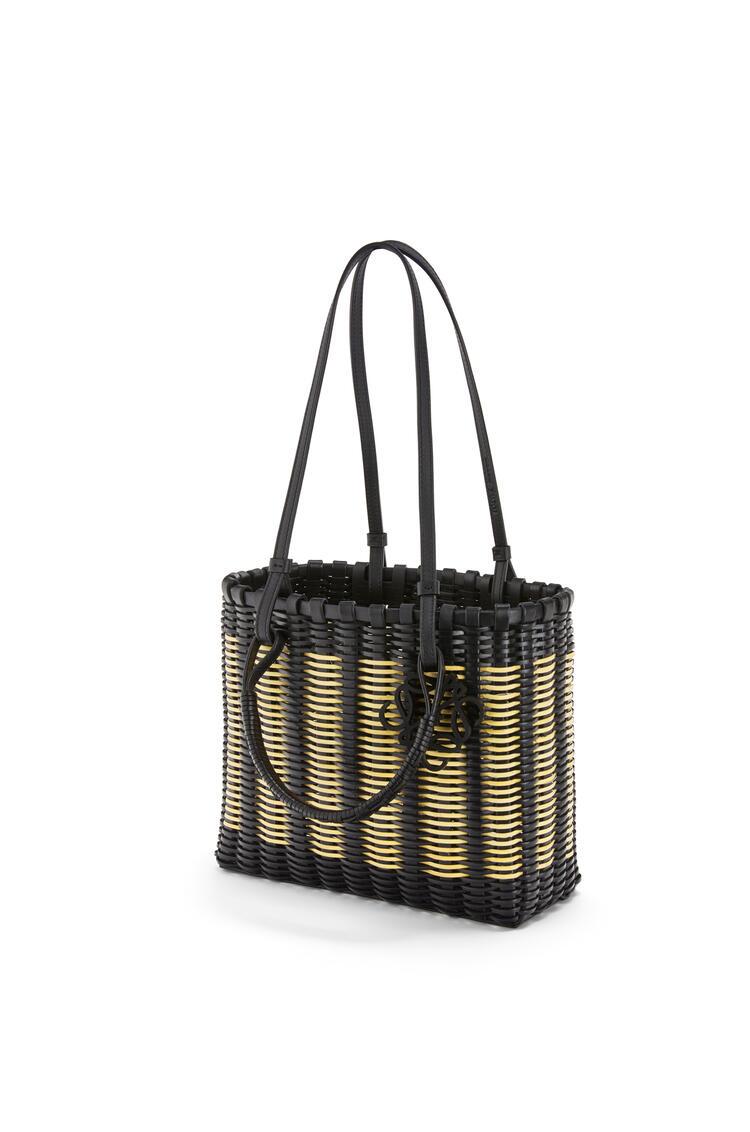 LOEWE Double Handle Square Tote bag in rattan and calfskin Black/Natural pdp_rd