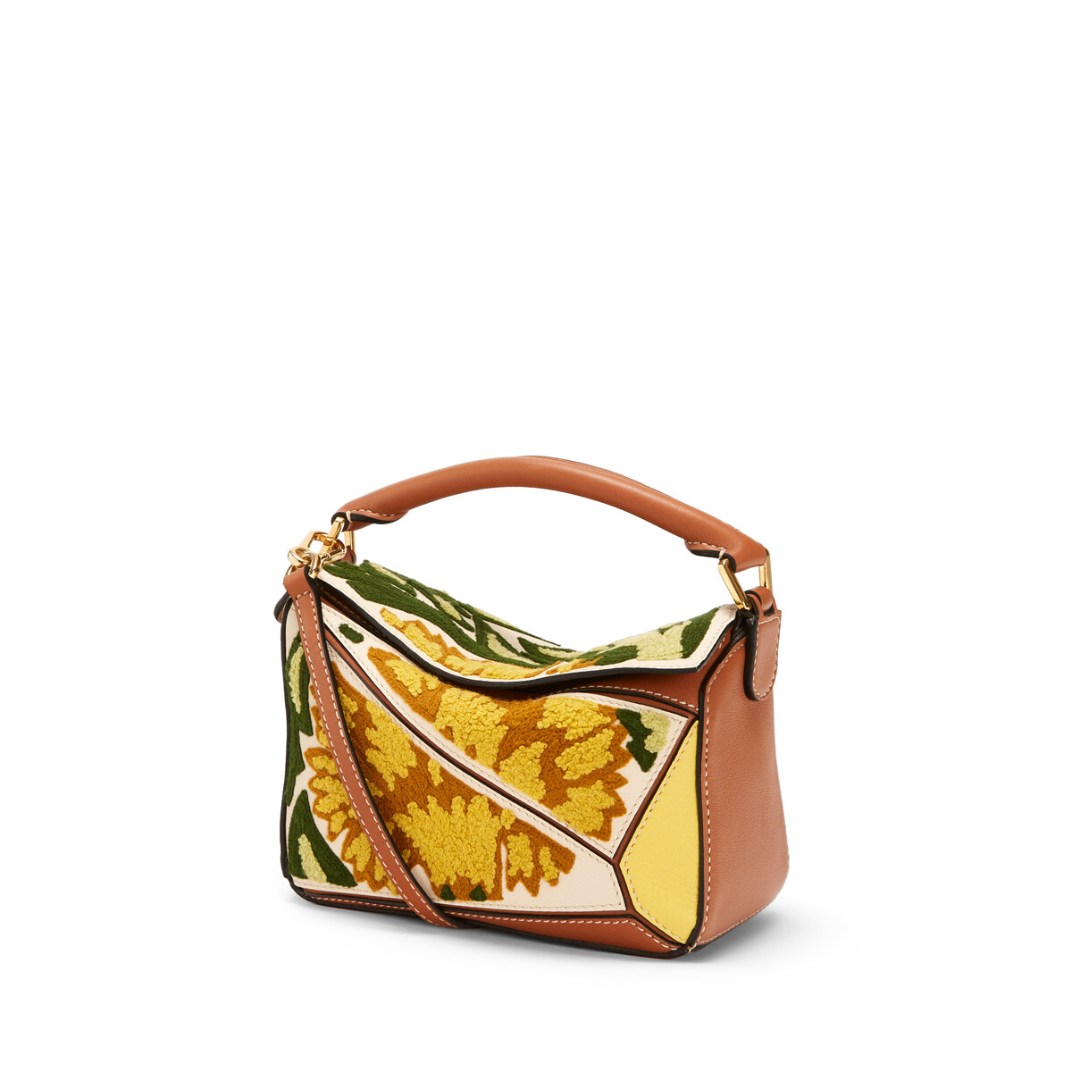 LOEWE Puzzle Floral Mini Bag Yellow front