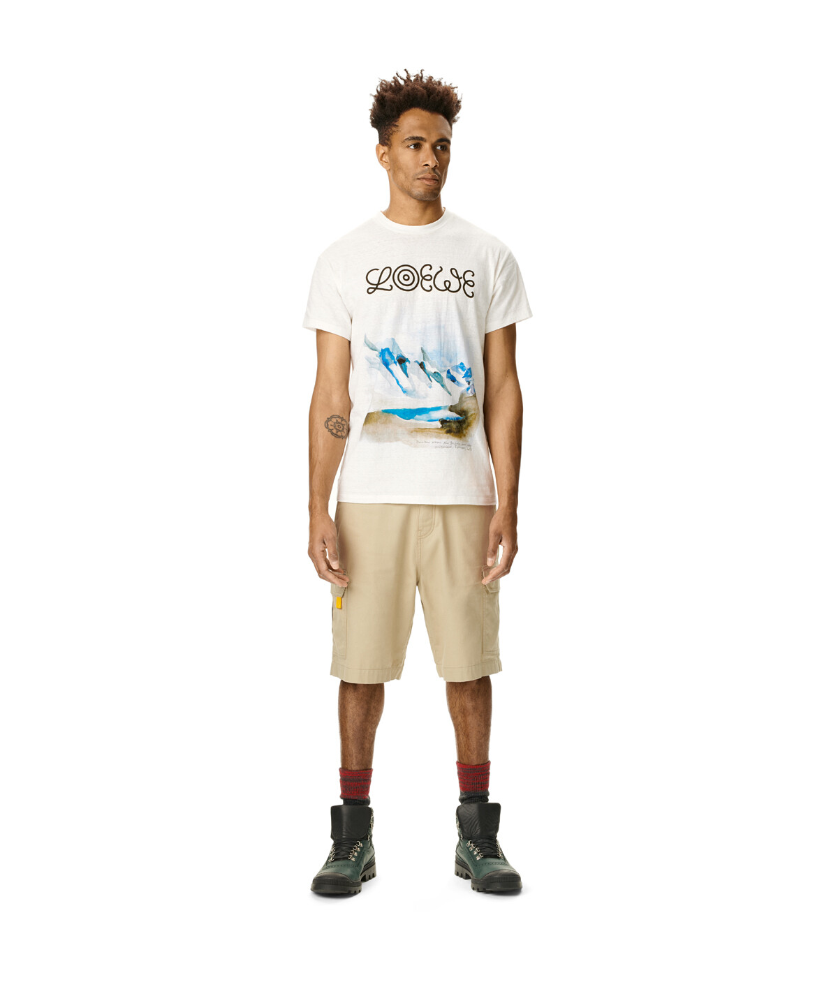 LOEWE Eln Watercolor Print T-Shirt 白色 front
