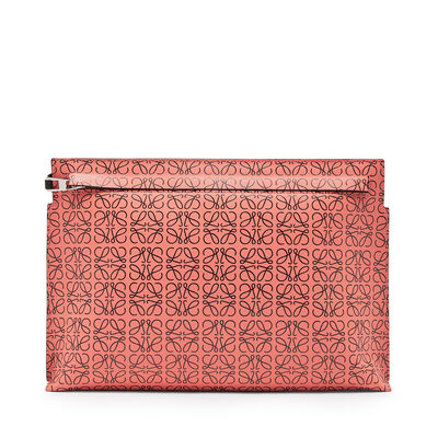 LOEWE T Pouch Repeat Pink Tulip/Black front