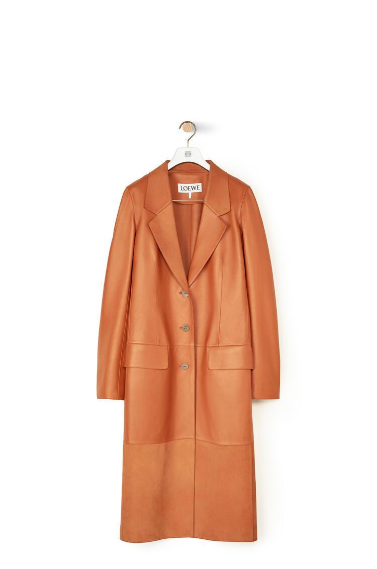 LOEWE Button Coat In Nappa Cognac pdp_rd