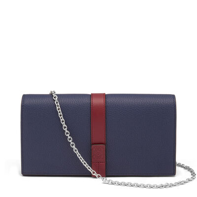 LOEWE Wallet With Chain Marine/Brick Red front