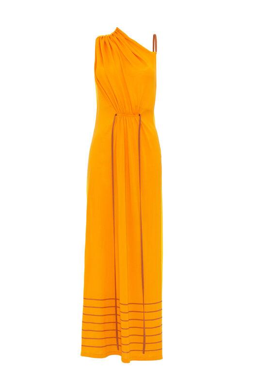 LOEWE ドロストリングニットドレス オレンジ front