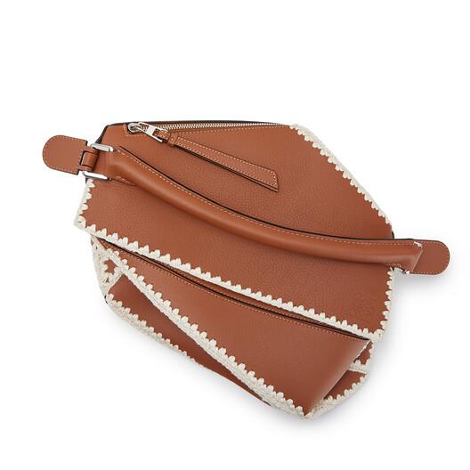 LOEWE Puzzle Crochet Bag Tan front