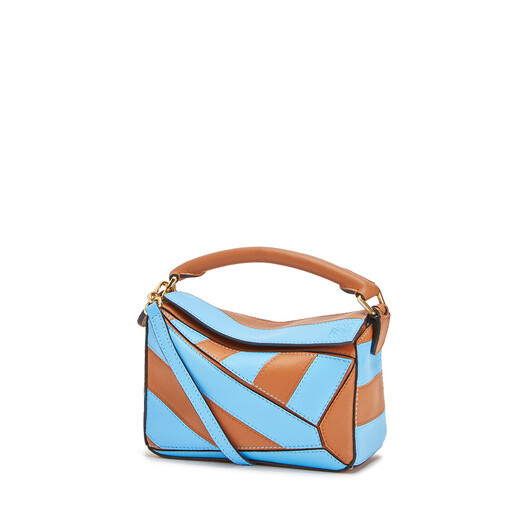 LOEWE Puzzle Rugby Mini Bag Tan/Sky Blue front