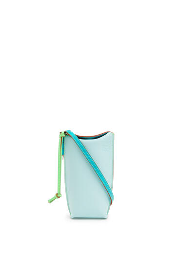 LOEWE Gate Pocket In Soft Calfskin Mint/Blueberry pdp_rd