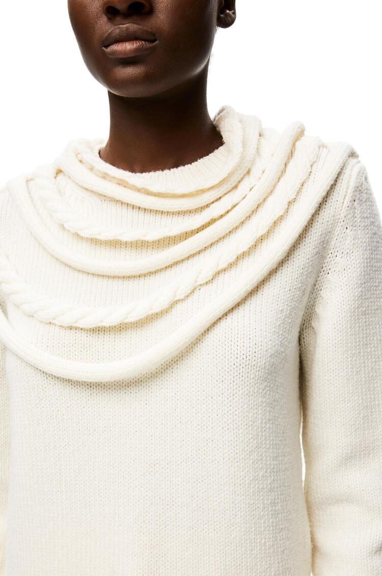 LOEWE Braided collar sweater in wool Optic White pdp_rd