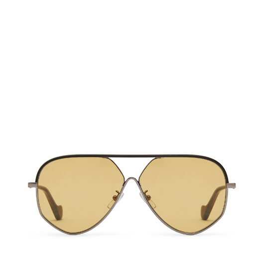 LOEWE Pilot Leather Sunglasses Black/Gold/Amber front