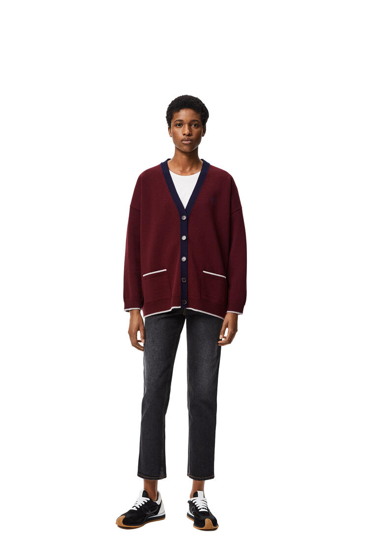 LOEWE Anagram embroidered oversize cardigan in wool Navy Blue/Burgundy pdp_rd