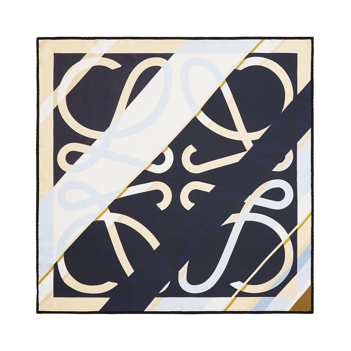 LOEWE 90X90 Scarf Stripe Anagram Marino Oscuro all