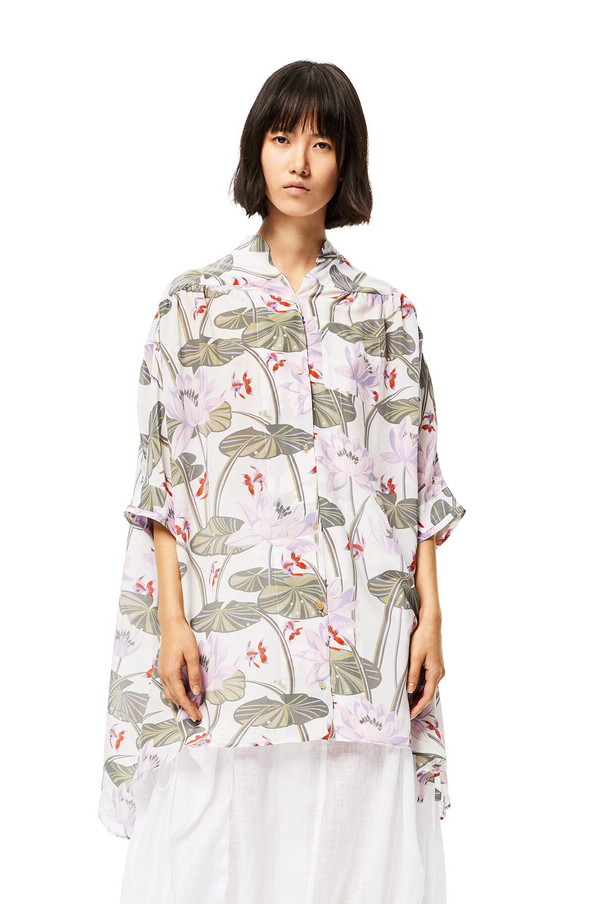 LOEWE Oversize Shirt In Waterlily Silk White/Pink front