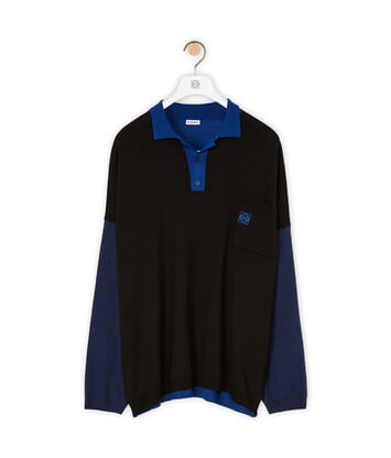 LOEWE Ov Poloneck Sweater 黑色/蓝色 front