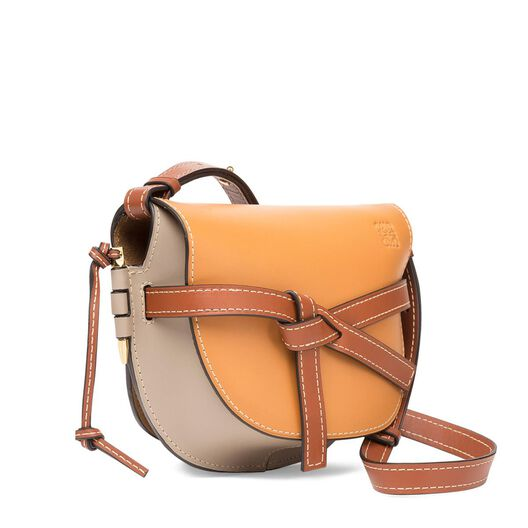 LOEWE Gate Small Bag Amber/Light Grey/Rust Colour all