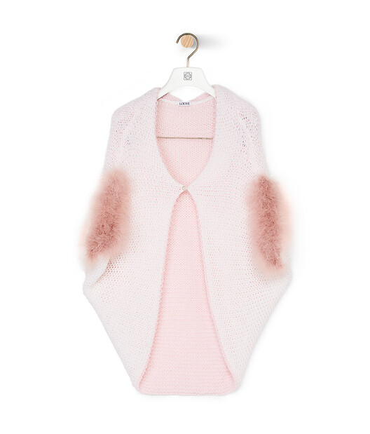 LOEWE Feather Trim Bolero White/Pink front