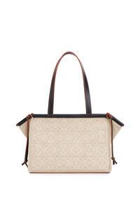 LOEWE Bolso tote Cushion pequeño en lino con Anagrama y piel de ternera Natural/Negro pdp_rd