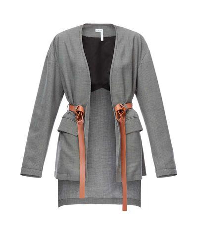 LOEWE Leather Belt Jacket Grey/Black front