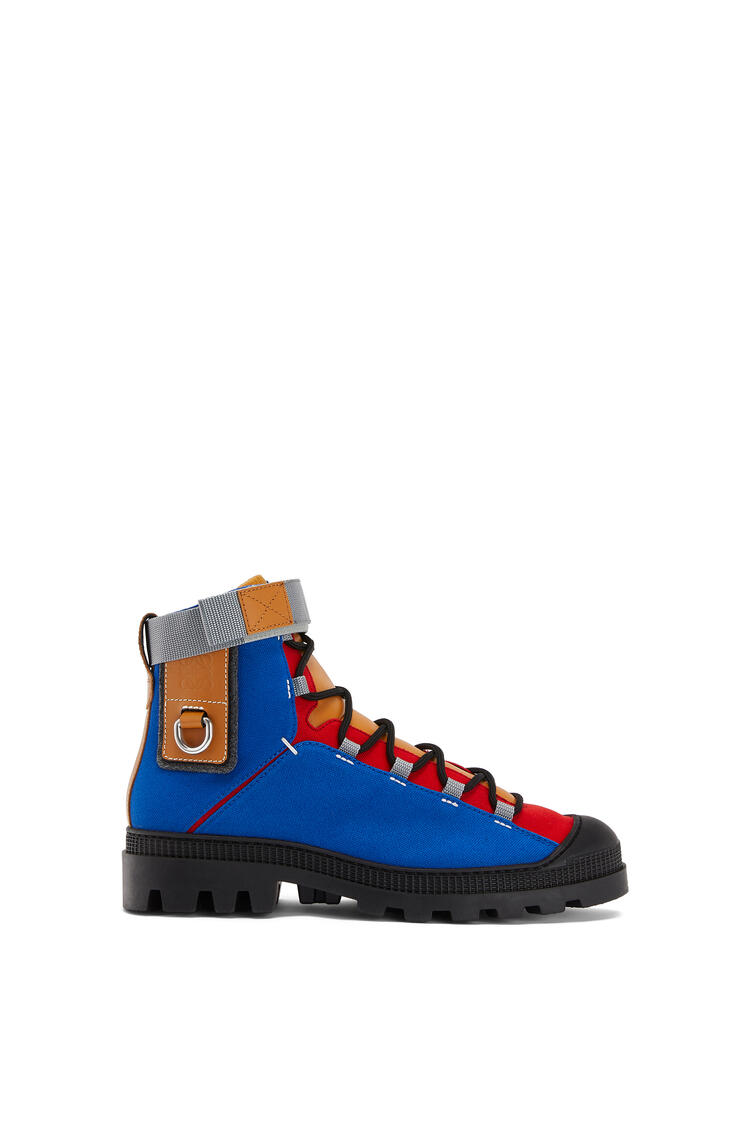 LOEWE Hiking boot in canvas and calfskin Blue/Toffee pdp_rd