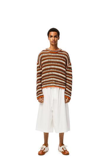 LOEWE Knit mesh sweater in striped cotton Orange/Black pdp_rd