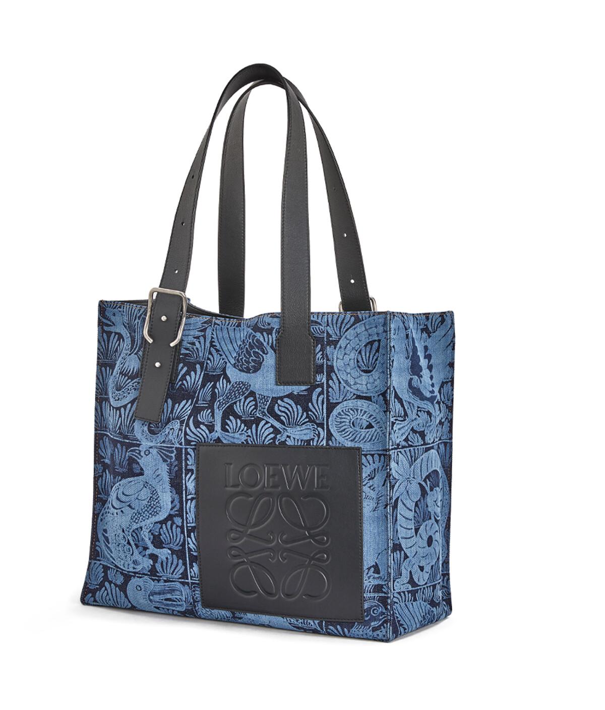 LOEWE Buckle Tote Tiles Bag Indigo/Black front
