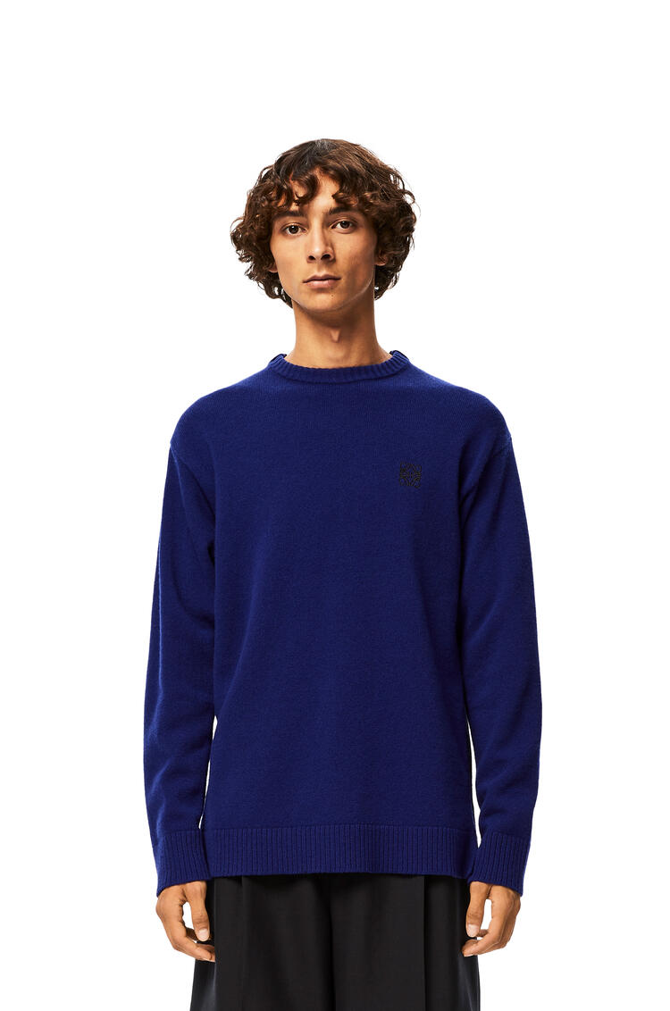 LOEWE Anagram Embroidered Sweater In Cashmere Navy Blue pdp_rd