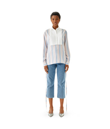 LOEWE Stripe Silk Bib Blouse Pink/Light Blue front