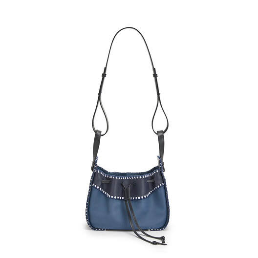 LOEWE Hammock Drawstring Crochet Small Bag Midnight Blue/Varsity Blue front