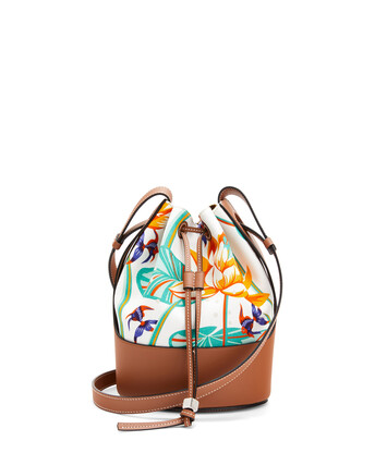 LOEWE Small Balloon Bag In Waterlily Canvas And Calfskin White/Tan front