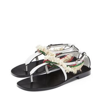 LOEWE Paula Flat Sandal Beads Blanco front