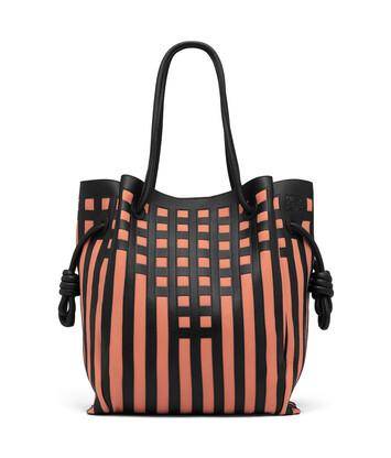 350eccbdaf7d LOEWE Flamenco Knot Tote Grid Bag Black Pink Tulip front