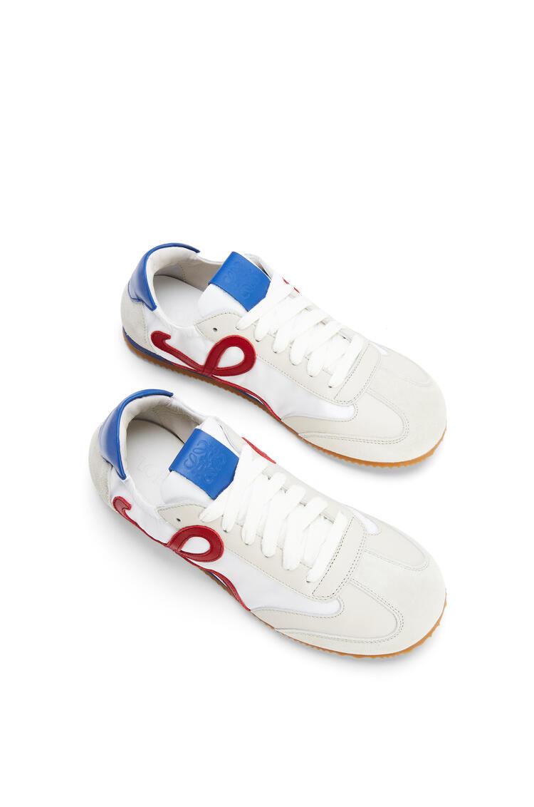 LOEWE Ballet runner in nylon and calfskin Soft White/Cherry/Royal Blue pdp_rd