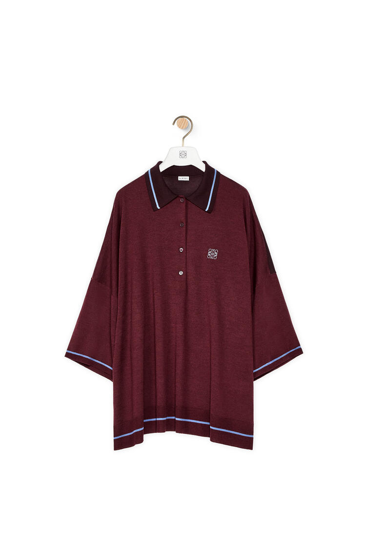 LOEWE Anagram embroidered polo sweater in wool Burgundy/Blue pdp_rd