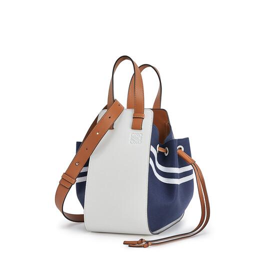 LOEWE Hammock Drawstring Sailor Small Bag Deep Blue/Soft White front