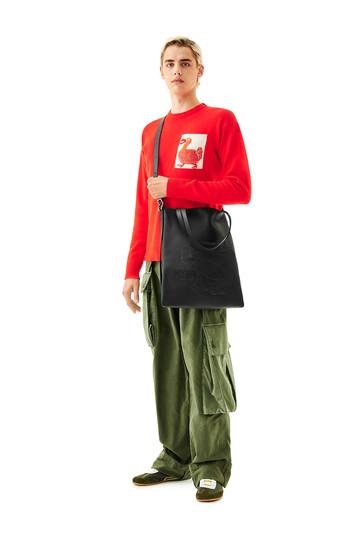 LOEWE Vertical Tote Dragon Bag Black front