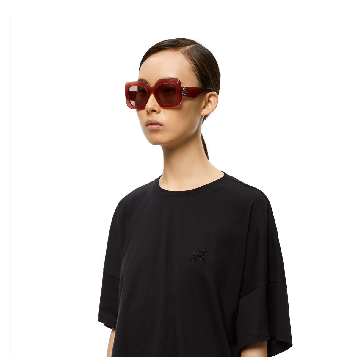 LOEWE Acetate Rectangular Sunglasses Strawberry front
